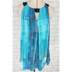 Ellen Tracy Halter Neck Aqua Blue Sleeveless Top